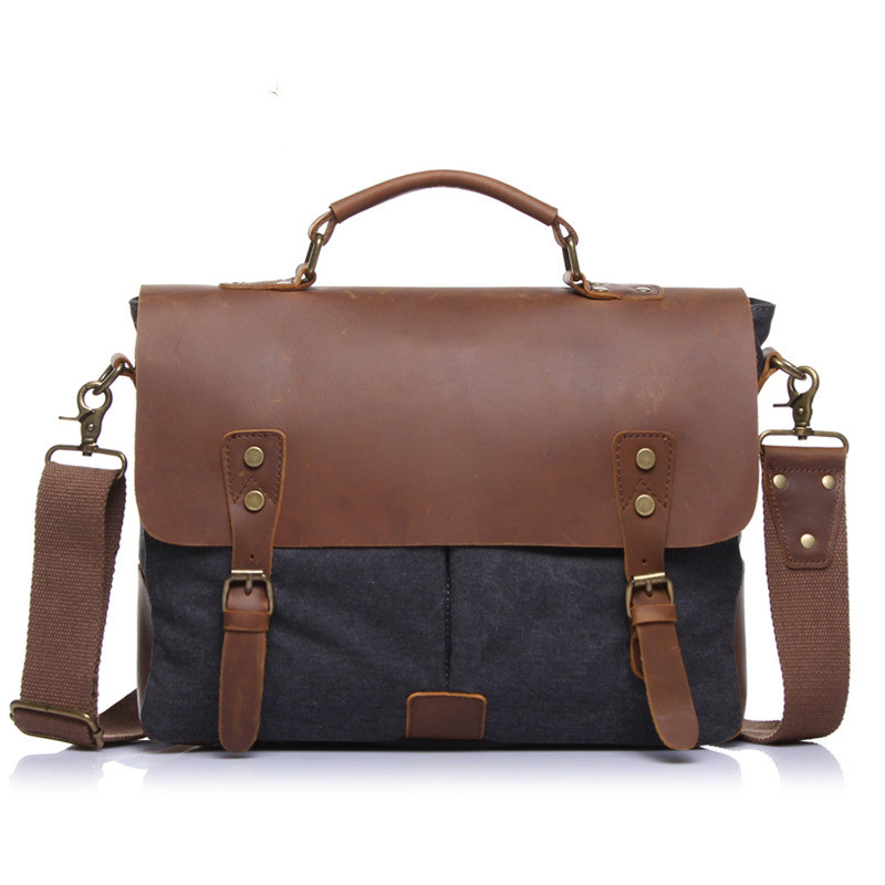 BERAGHINI Brand Business briefcase Vintage Messenger shoulder Bag for Men and Women Canvas Satchel Laptops Bag