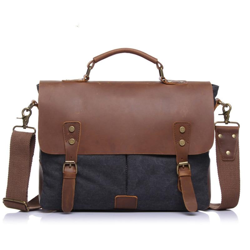 Leather Bag Vintage Messenger Shoulder Men Satchel Laptop women Briefcase bags