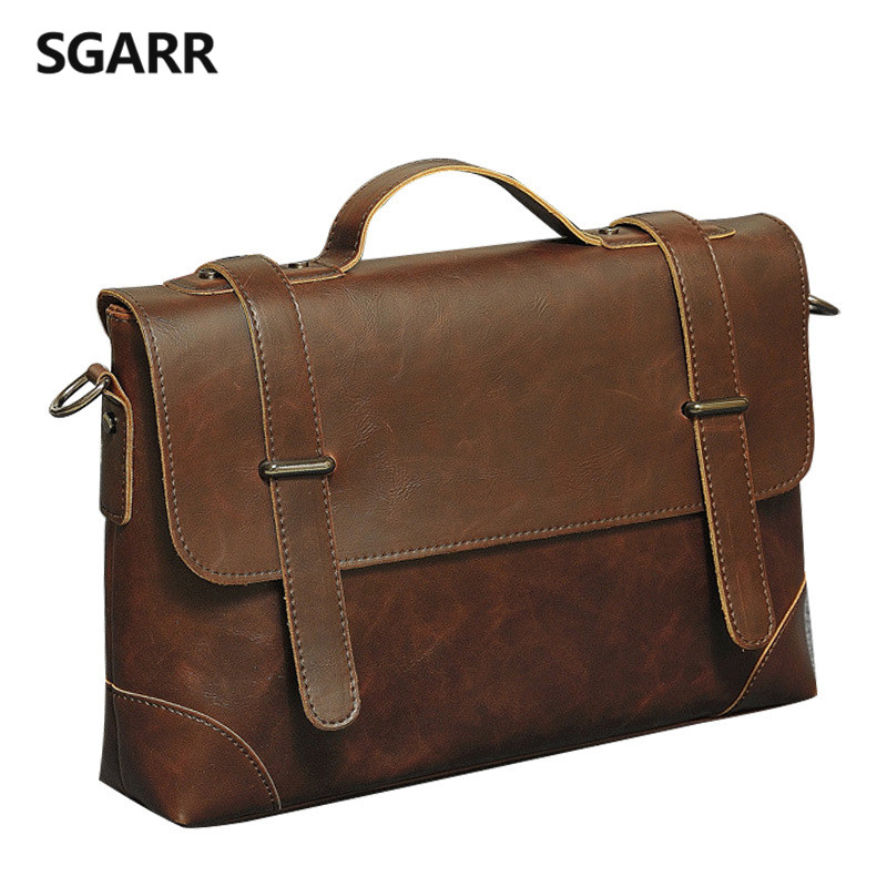 2019 Casual Men Briefcase Crazy Horse PU Leather Men's Messenger Bag Laptop Bag Business Briefcase Male Crossbody Bag Travel Bag