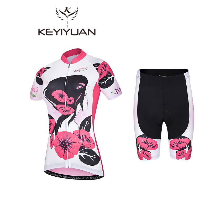Keyiyuan Womens Cycling Jersey Sets Breathable Bicycle Cycling Clothing Ropa Ciclismo Mountain mtb Bike Jersey Cycling Wear