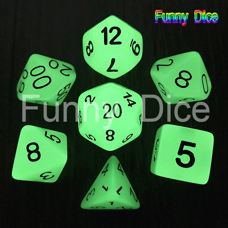 7pc/lot   Glow in the dark RPG Digital Dice Set  D4,6,8,10,10%,12,20 Set Light dnd dice