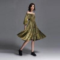 Ambilight metal Strapless pleated pendulum spring dress fold dresses free shipping