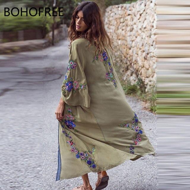 80705ed0685fc US $62.84 |BOHOFREE Autumn Outerwear Long Kimono Floral Embroidery Maxi  Hippie Bikini Cardigans Women Thin Jacket Dress Boho Kimonos Dress-in  Dresses ...