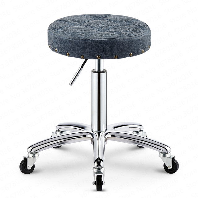 Beauty stool lift rotating back chair barber chair retro pulley stool master chair home makeup stool 1