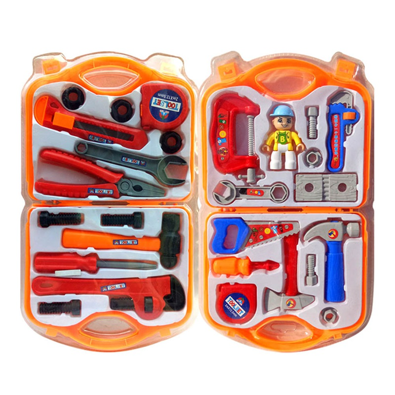 Children`s Simulation Random Color Play House Repair Tool Toy Boy Toolbox Set ...