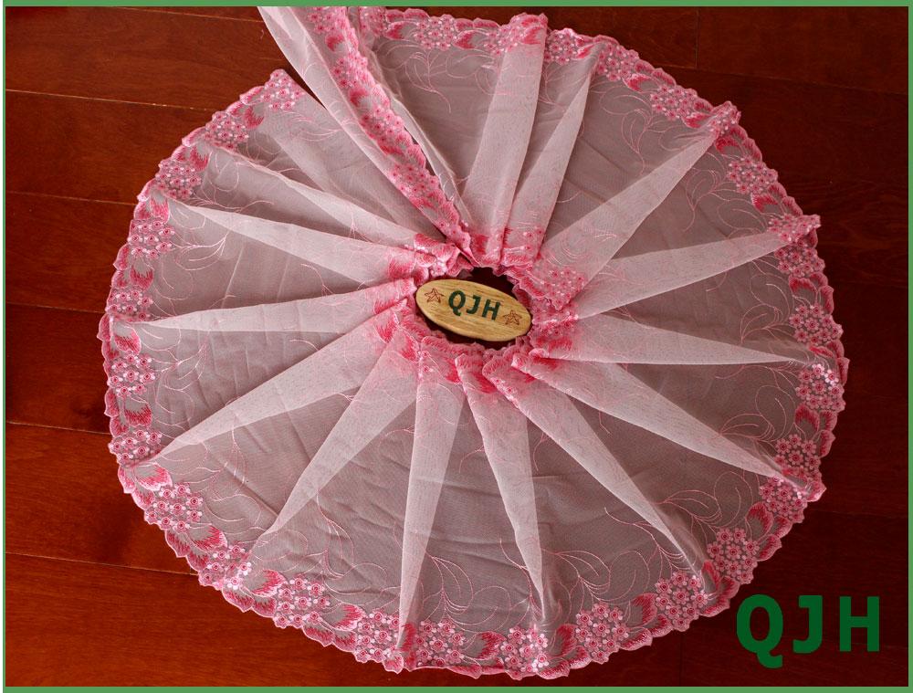 YCRAFT Pack of 5y Two Tone Satin Organza Lace Edge Trim 1.5 Wedding Ribbon Sewing-Pink