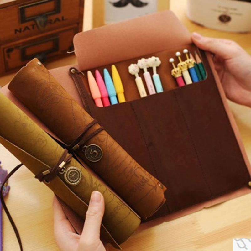 Stationery Holder Desk Accessories & Organizer 2019 Latest Design New Hot Vintage Treasure Map Pencil Case Roll Faux Leather Pen Bag Makeup Brush Pouch Sale Stationery Holder