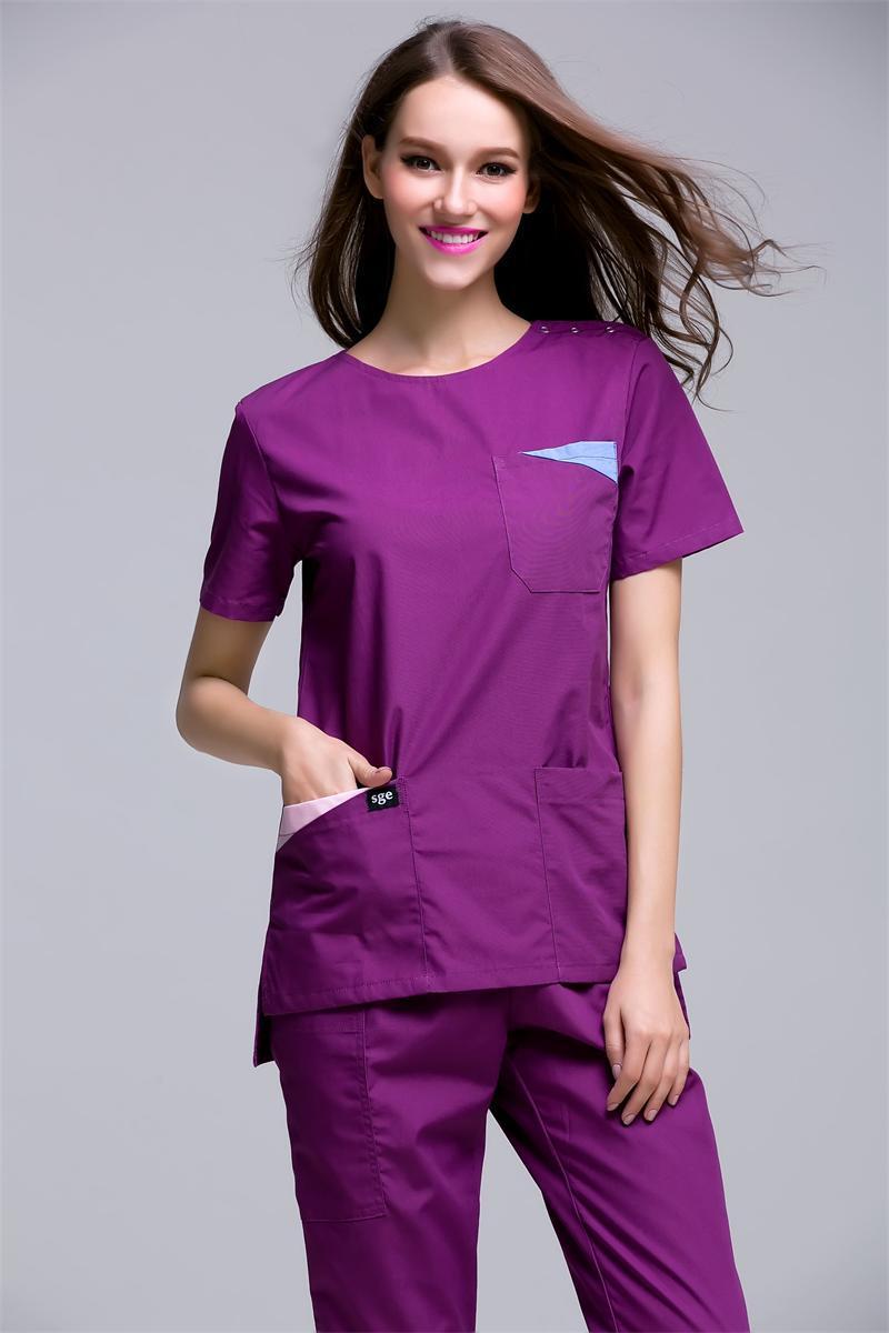 2017 Korea Style Women's Summer Short Sleeve Open Shoulder Round Neck Hospital Surgical Or Medical Scrub Clothes Sets Uniforms