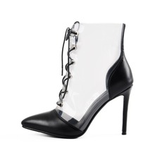 цены Onlymaker Women's Clear Transparent Lace up Ankle Boots Pointed Toe High Heel Mid-Calf Sandals Booties