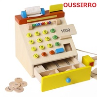 THINKEASY The Cash Register Machine Wood Toy For Children Early Education Kid Birthday Gift Wooden Toys Christmas Gift