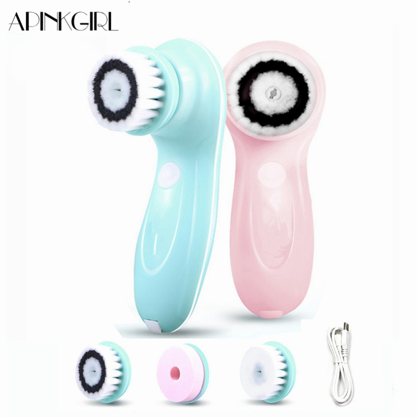 APINKGIRL Electric Facial Cleanser Cleaning Brush Skin Care Blackhead Remover Washing Massager Scrubber Face Cleaner Machine 4 in 1 electric facial cleanser deep cleansing skin care blackhead removal washing brush massager face body exfoliator scrub