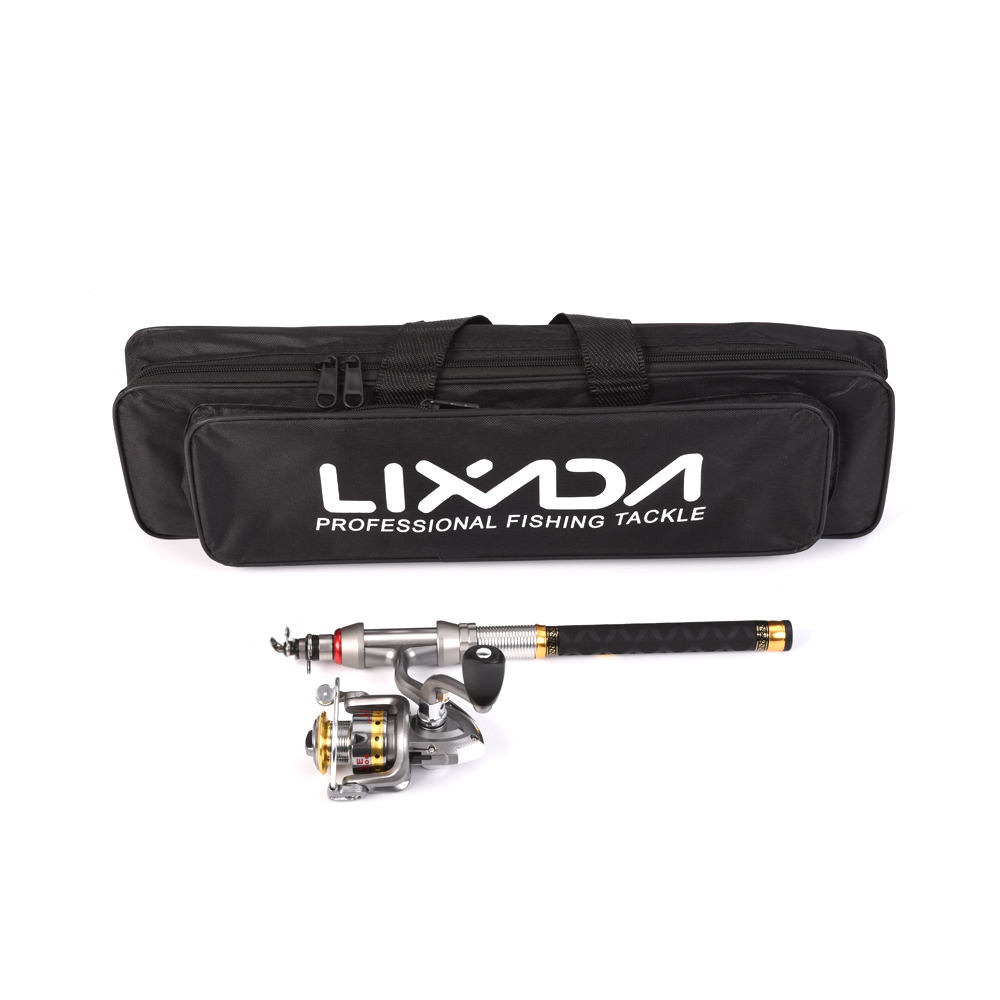 Lixada Fishing-Rod-Combo Organizer Reel Spinning Telescopic Full-Kit With And Pole-Set
