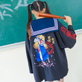Mulheres Japonês Yukata Kimono com cinto Anime Ir Balísticos Preto Ocasional Harajuku Embroideried Outwear Legal Solto Trincheira 82801