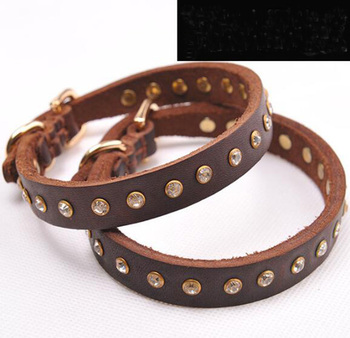 Top quality dogs leather collar supplies pet dog fashion diamond collars products pets accessories 10pcs one size color random