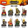 8pcs/lot X0137 Gladiatus Minifigs Medieval Knights Rome Fighters Hero of Sparta Female Warrior Building Blocks Kids Toys