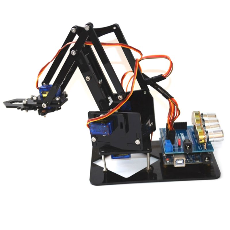 DIY Acrylic Robot Arm Robot Claw for Arduino Kit 4DOF Toys Mechanical Grab Manipulator Tools