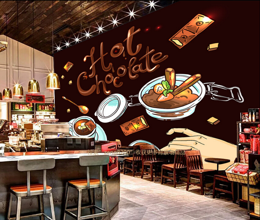 Buy custom wallpaper mural 3d hot coffee for Cafe mural wallpaper