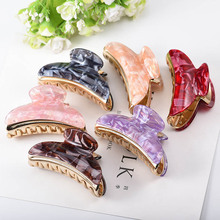 AHB 1pc Alloy Hair Claws Hairpins Marble Color Clip Crab for Women Girls Korean Ponytail Holder Accessories
