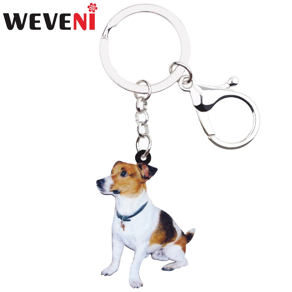 WEVENI Acrylic Sitting Jack Russell Terrier Dog Key Chains Keyrings Lovely Jewelry For Women Girl Ladies Handbag Charms Bulk Pet