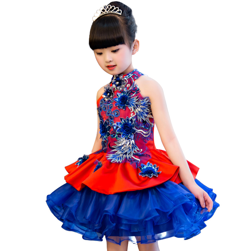 Sequins embroidery Formal Evening Wedding Gown Tutu Princess Dress Flower Girls Children Clothing for Girl Kids Party Dress