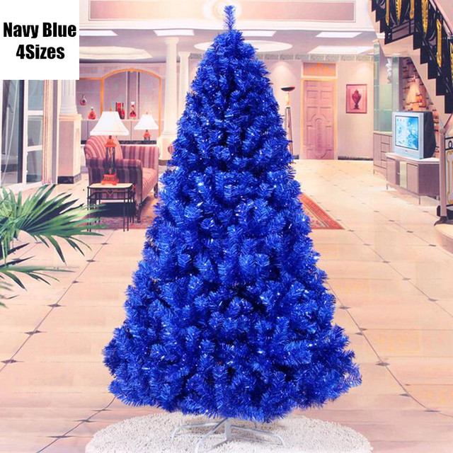 4 sizes christmas decorations trees navy blue ornaments santa claus pvc christmas tree free shipping mcc258