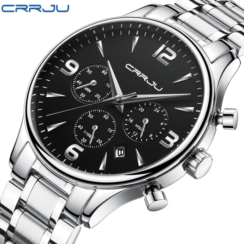 CRRJU 2018 Silver Black Full Steel Fashion Casual Quartz Watch Men Dress Watches Business Male Relojes hombre Simple Wristwatch halei lovers watches crystal inlaid full steel quartz watch women men simple casual wristwatches silver clock calendar relojes