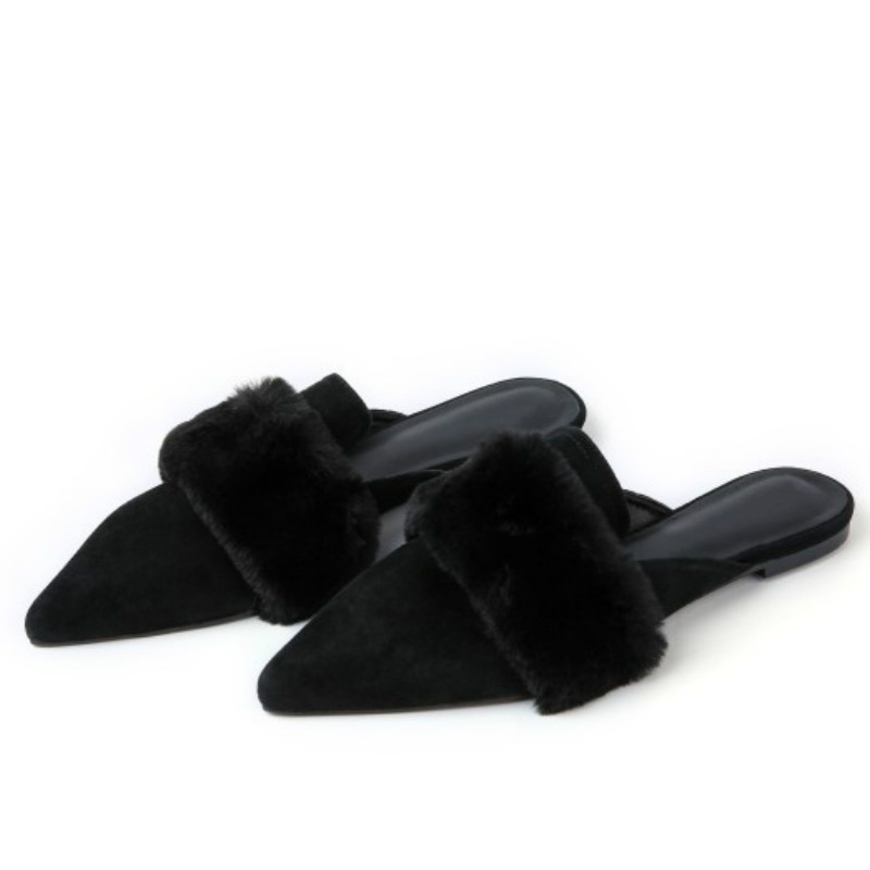 top brand real full genuine leather flat shoes women 2017 black pointed toes mink hair fashion ladies summer mules slides shoes meotina brand design mules shoes 2017 women flats spring summer pointed toe kid suede flat shoes ladies slides black size 34 39