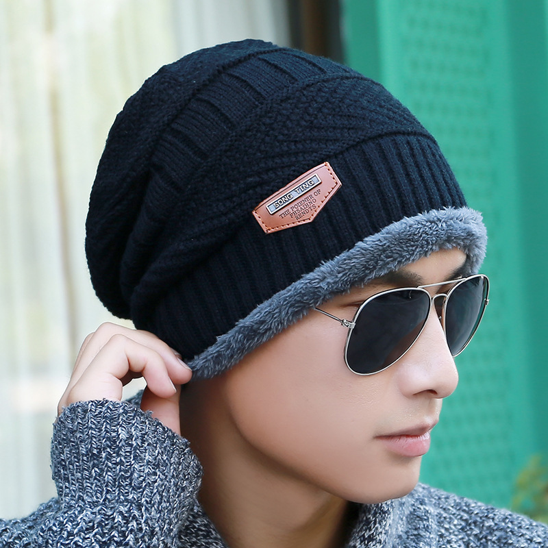 2019 Men's winter hat Cotton knitted black hats Fall Hat Thick and warm and Bonnet   Skullies     Beanie   Soft Knitted   Beanies