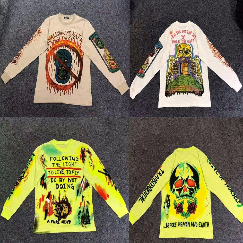 2019SS Kanye West Saison 6 Enfants Voir Fantômes Graffiti Hommes t-shirt hip hop Mode Nouveau Arrivé Pie Squelette Streetwear Tee s-XL