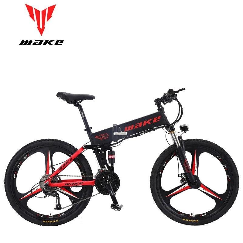 Faire du vélo électrique de montagne Suspension complète en aluminium cadre pliant 27 vitesses Shimano Altus frein mécanique 26 roue
