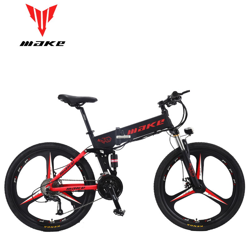 "MAKE Mountain Electric Bike Full Suspension Alluminium Folding Frame 27 Speed Shimano Altus Mechanic Brake 26"" Wheel"