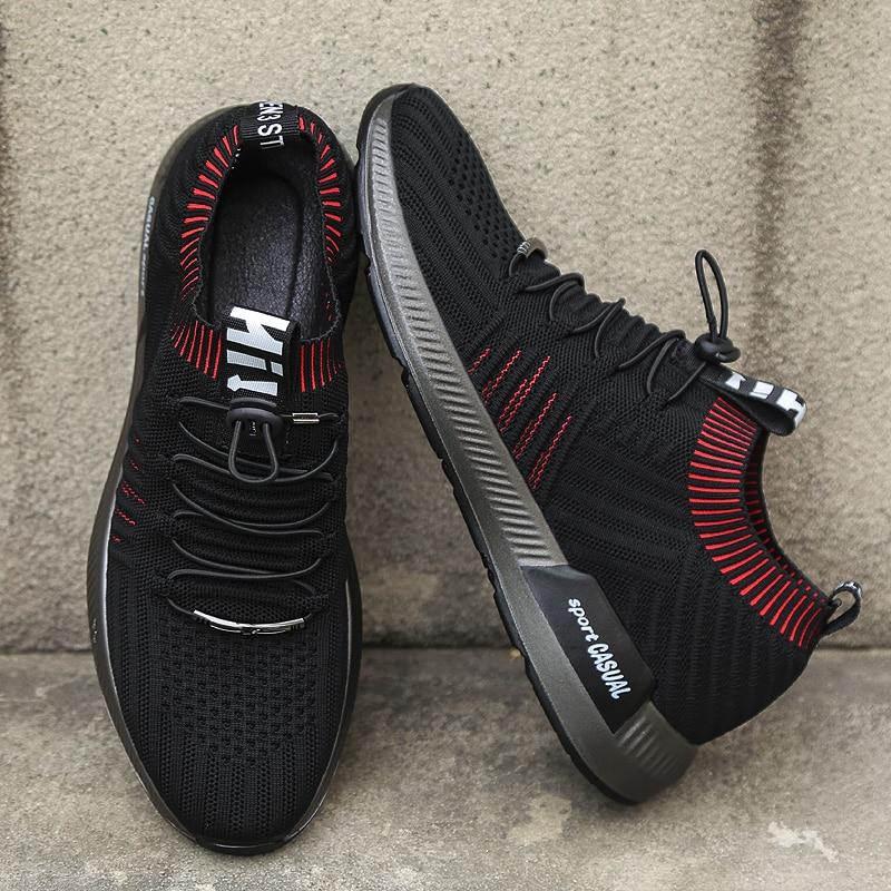 Marca verano hombres zapatillas transpirable malla zapatos Casual Lace up zapatos calcetín mocasines niños Super luz calcetín zapatillas
