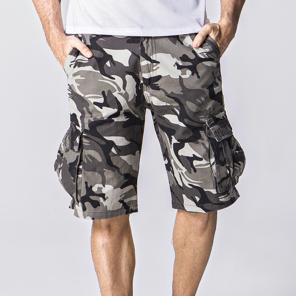 Shorts Overalls Cargo Multi-Pocket Military Army Hot-Sale Men's Summer Camouflage Cotton