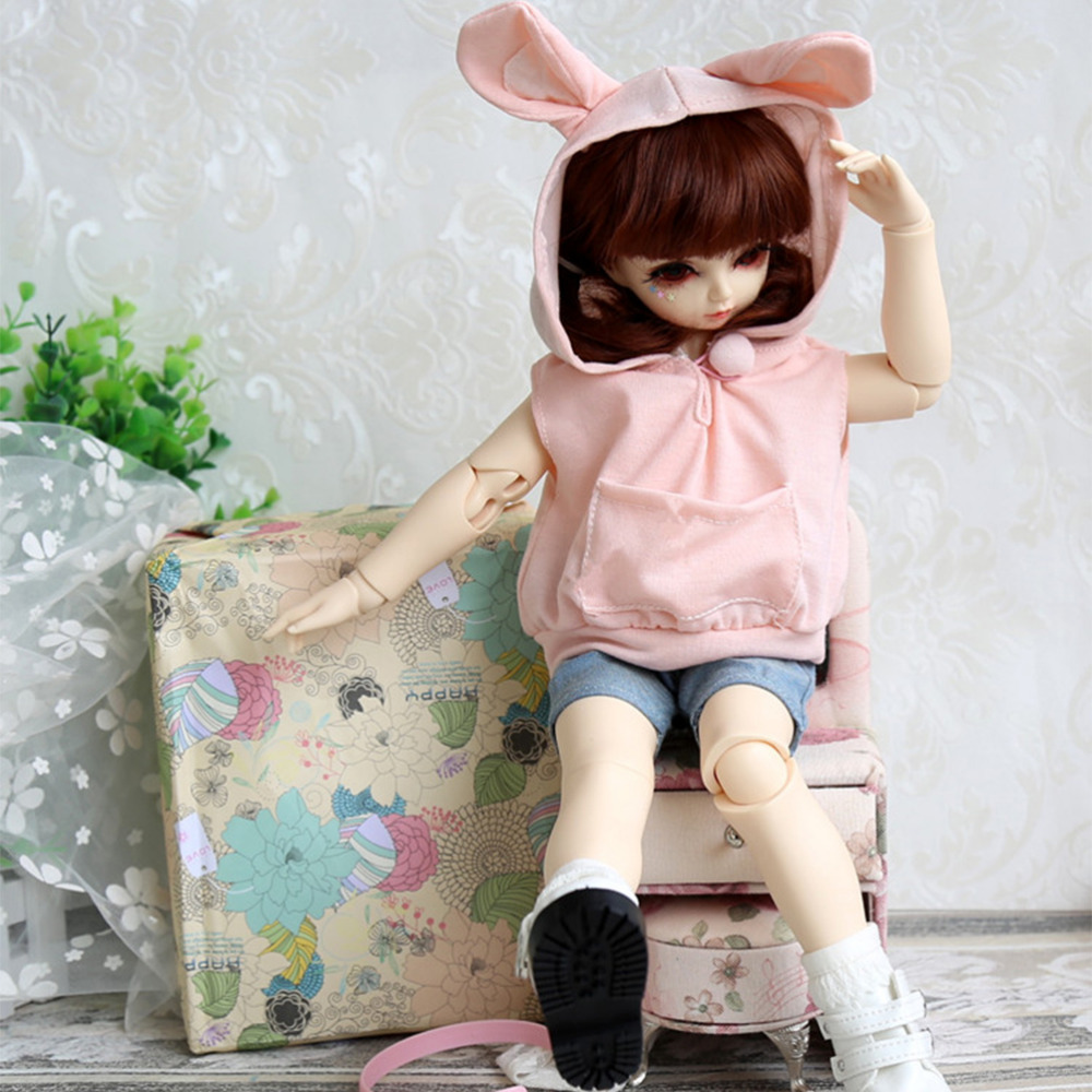 Subcluster Pink Lovely Rabbit 1/6 1/4 BJD Doll Clothes Jeans Pink Cute Rabbit Clothes Casual Suit SD DD4 BJD Doll AccessoriesSubcluster Pink Lovely Rabbit 1/6 1/4 BJD Doll Clothes Jeans Pink Cute Rabbit Clothes Casual Suit SD DD4 BJD Doll Accessories