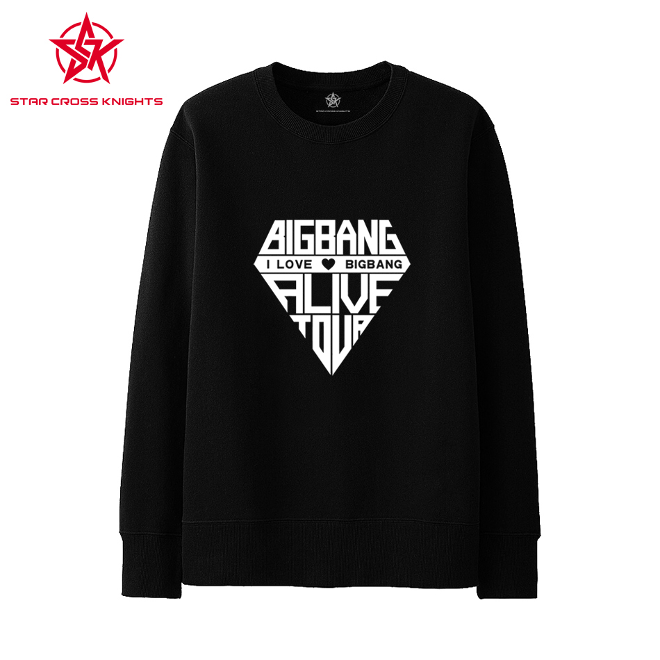 Diamond Pattern Sweatshirts Famous Korea Brand BIGBANG Hip Hop Black Men Hoodies G-DRAGON Letter Men Clothing Sportswear