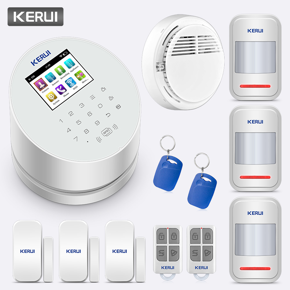 KERUI W2 GSM WiFi PSTN Home Burglar Security Alarm System Wireless Alarm Panel With RFID PIR Sensor Smoke Detector APP Control