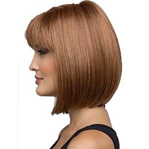 Image 3 - Peruca de cabelo curto reta bob peruca de cabelo completo resistente ao calor freeshipping