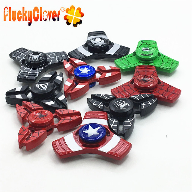 1 pc Fidget Spinner Metal Superman Spiderman Ironman Hulk Mão Dedo Spiner Capitão América Marvel Brinquedo Para Antistress Kid Adulto