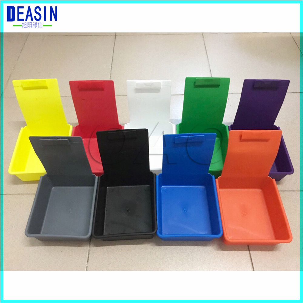 7 Pcs/lot  Colorful Dental Lab Tools Dental Plastic Work Boxes Colorful Dental Work Pans With Clip Holder For Hold Teeht Model