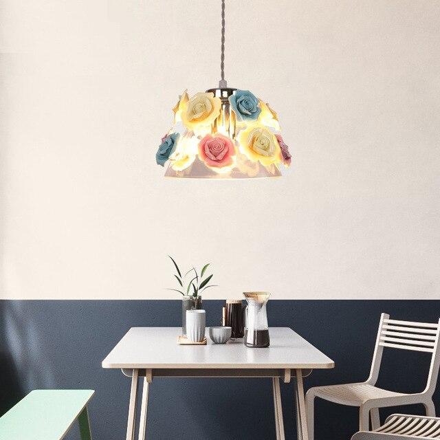 Moderno de vidrio colgante Led luces comedor de cerámica flores ...