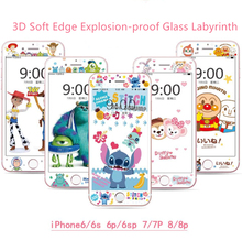 Full-screen relief cartoon(170-182)soft-edge explosion-proof glass with toughened film for the iPhone6/6S/7/8/7plus/Cartoon fans