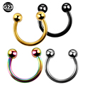 1PC Titanium Nostril Fake Nose Rings Eyebrow Piercing Screw Ball Horseshoe Rings CBR Rings BCR Earring Tragus Pircings Jewelry