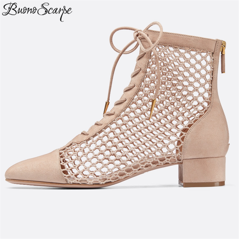 Women Brand Design Front Lace Up Mesh Ankle Boots Chunky Heels Cross Ties Sexy Ankle Boots