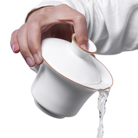 Chinese Traditional Tea Set Gaiwan White Porcelain Tureen Gongfu Tea Set Tureen Cup Bowl Tea Ceremony Kung Fu Ceramics 130cc New