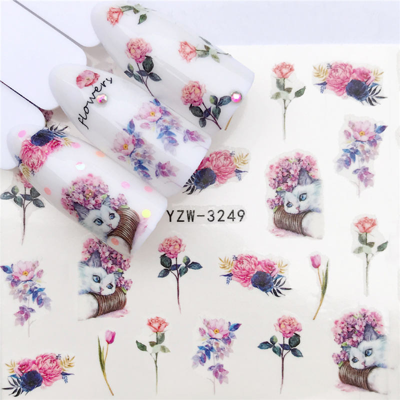 YZWLE 1 PC Panda / Black Rose / Flower Water Transfer Nail Art Sticker Beauty Red Maple Leaf Decal Nails Art Decorations art