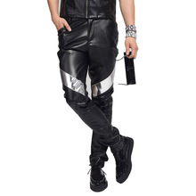 EMAIGI Men Casual Leather Pant Male Punk Rock Style Trousers Motorcycle PU Leather