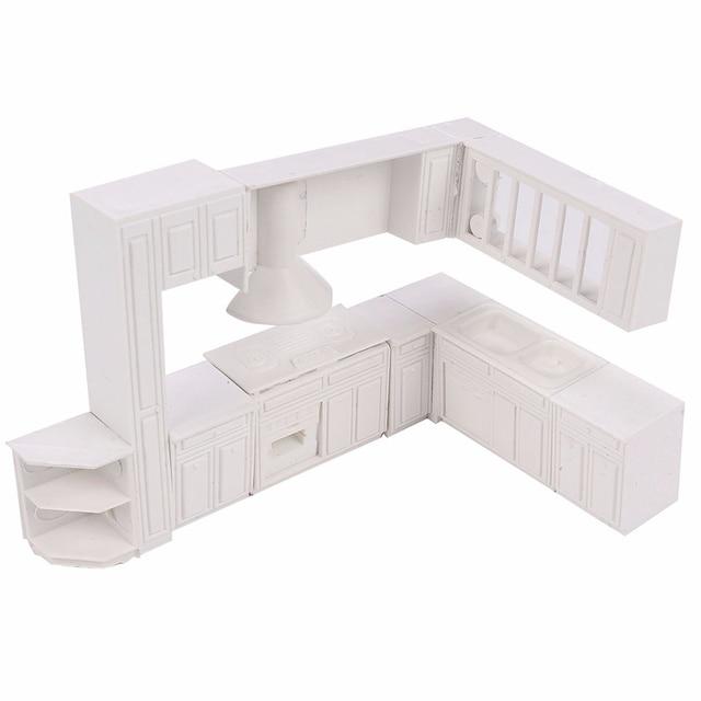 Kiwarm Fashion 16pcs White Miniature Doll House Kitchen Furniture Cabinet  Cupboard Closet Set For Kids Play