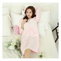 New Pyjamas Frincess Nightdress Women's Lace Bow Cotton Long Sleeve Nightgown Home Wear Nightshirt
