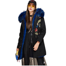 2017 High Fashion Winter Women's Big Real Raccoon Fur Collar Parka Hooded Coat Appliques Beading Military Embroidery Long Jacket
