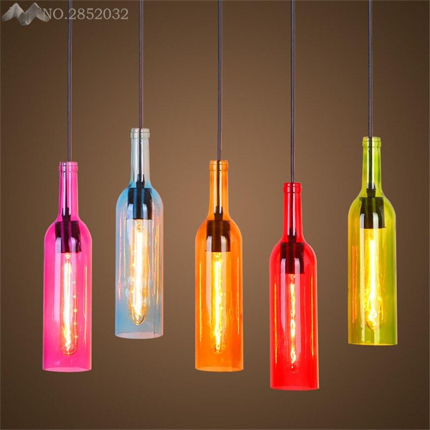 Us 32 0 20 Off Jw Modern Creative Colorful Wine Bottle Pendant Lamp Gl Lights For Living Room Bedroom Bar Lighting Fixtures Decor In